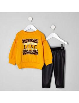 Yellow 'Luxe' Leopard Print Sweater Outfit by River Island