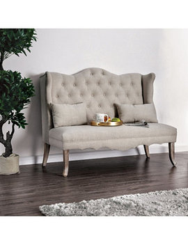 Janey Ivory Tufted Wingback Loveseat by Furniture Of America