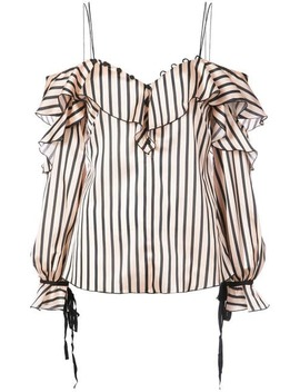 Ruffle Striped Cold Shoulder Blouse by Self Portrait