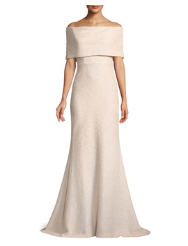 Off The Shoulder Embellished Tweed A Line Evening Gown by Lela Rose
