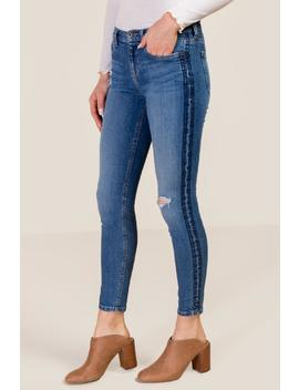 Kelly Mid Rise Tonal Stitch Side Stripe Skinny by Francesca's