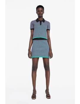 Camisa Polo De Malha Com Jacquard GeomÉtrico  Última Semanamulher New Collection by Zara