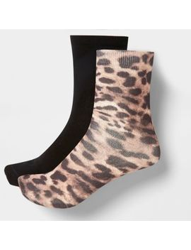 Brown Leopard Print Ankle Socks Multipack by River Island