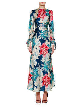 Ruched Sleeve Lily Floral Jacquard Dress by Etro