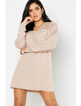 Montana V Neck Sweat Dress by Boohoo