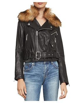 Kaylee Faux Fur Trim Leather Moto Jacket by Bcbgmaxazria