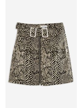 Snake Print Buckle Denim Skirt by Topshop