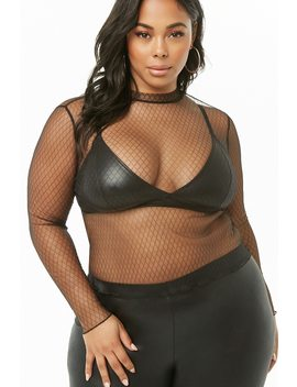 Plus Size Diamond Mesh Top by Forever 21