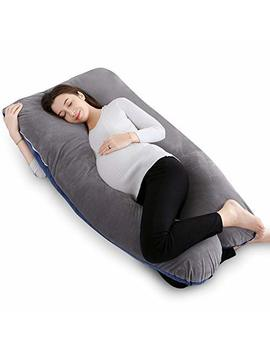 Queen Rose 55in Pregnancy Pillow And Body Pillow With Velvet Cover U Shaped Maternity Pillow,Navy Gray by Queen Rose