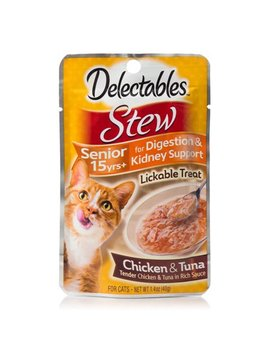 (4 Pack) Delectables Lickable Treat   Stew Senior 15 Yrs+ Chicken & Tuna, 1.4oz by Hartz