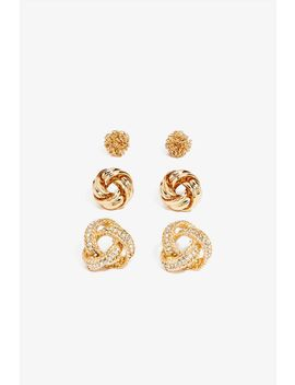 Rhinestone Knot 3 Pair Stud Set by A'gaci