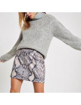 Grey Snake Print Zip Mini Skirt by River Island