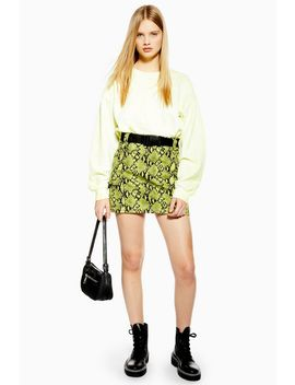 Snake Clip Buckle Denim Skirt by Topshop