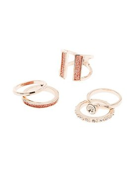 Crystal Stackable Rings   5 Pack by Charlotte Russe