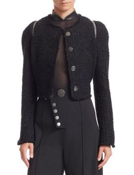 Tweed Zipper Trim Fitted Jacket by Alexander Wang