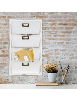Gallery Solutions Distressed White Wall Mail Organizer Letter Bin by Gallery Solutions