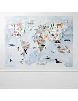 Watercolor World Map Mural Decal by Crate&Barrel