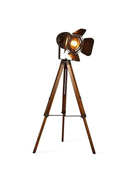 Decoluce Vintage Tripod Floor Lamp,Nautical Teatre Retro Spotlight,Industrial Decor Wooden Light Fixtures,Cinema Movie Props,(Without Edison Light Bulbs) by Decoluce