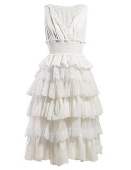 Lace Trimmed Tiered Dress by Dolce & Gabbana