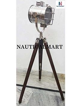 Nautical Mart Marine Designer Spotlight Search Light Decorative Floor Lamp W/Wooden Tripod by Nauticalmart