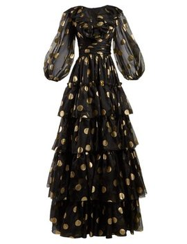 Polka Dot Print Tiered Gown by Dolce & Gabbana