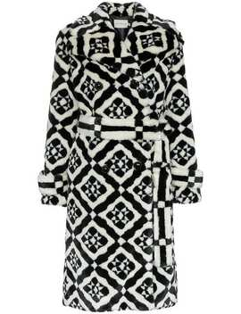 Stokes Faux Fur Tile Print Coat by Mary Katrantzou