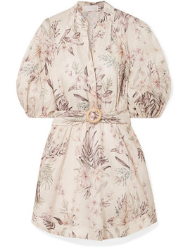 Wayfarer Belted Floral Print Linen Mini Dress by Zimmermann
