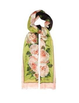 Oversized Rose Print Silk Scarf by Dolce & Gabbana