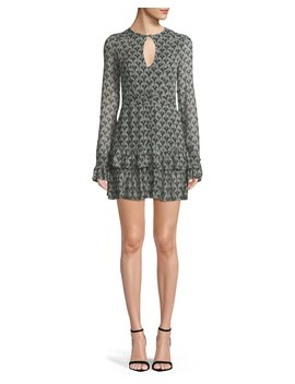 Alba Printed Keyhole Flounce Mini Dress by Alexis