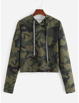 Letter Tape Camo Print Hoodie by Sheinside