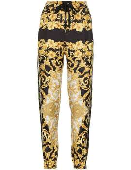 Baroque Silk Track Pants by Versace