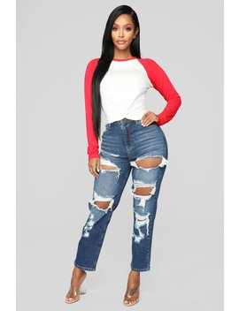 Love Me Not Distressed High Rise Jeans   Dark Denim by Fashion Nova