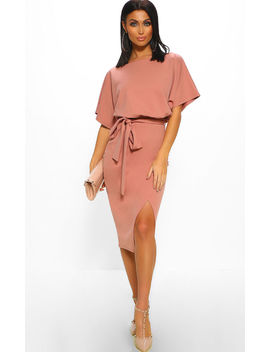 Came Here For Love Rose Pink Belted Wrap Front Midi Dress by Pink Boutique