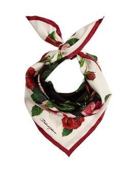 Rose Print Silk Twill Scarf by Dolce & Gabbana