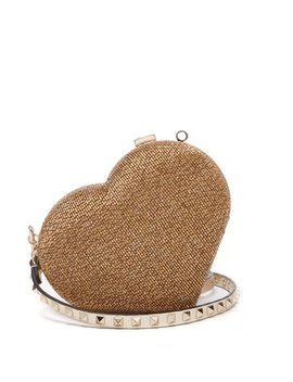 Carry Secrets Bead Embellished Heart Clutch by Valentino