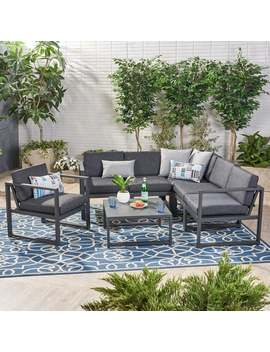 Navan Outdoor Aluminum 6 Seater Sofa Set By Christopher Knight Home by Christopher Knight Home