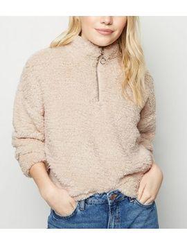 Petite Camel Faux Teddy Fur Sweatshirt by New Look