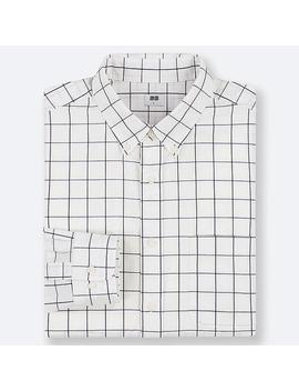 Men Extra Fine Cotton Broadcloth Checked Long Sleeved Shirt by Uniqlo