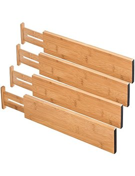 "Royal Casa 100 Percents Natural Bamboo Adjustable Standard Size Kitchen Drawer Dividers (17.6""   22""). Set Of 4 by Royal Casa"