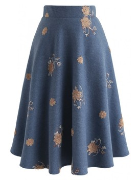 Pleased To Be Bouquet Wool Blend Midi Skirt In Blue by Chicwish