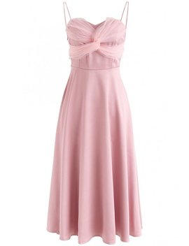 Silkiness Sweetheart Cami Dress In Dusty Pink by Chicwish