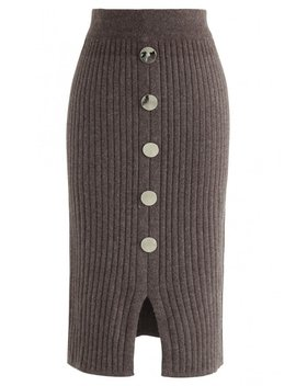Button The Charm Ribbed Knit Pencil Skirt In Brown by Chicwish