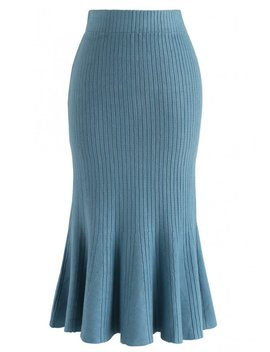 Show Your Curve Flare Hem Knit Skirt In Blue by Chicwish