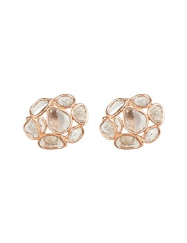 Rose Gold Vermeil Sliced Diamond Cluster Stud Earrings   0.55 Ctw by Forever Creations Usa Inc.