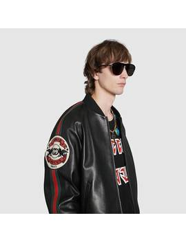Leather Bomber Jacket With Patch by Gucci