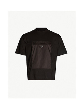 Shell Trimmed Cotton Jersey T Shirt by Prada