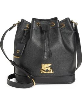 Small Rgb Leather Drawstring Bag by Mcm