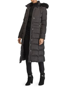 Long Down Coat With Faux Fur Trim by Lauren Ralph Lauren
