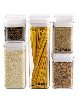Leffberg   Airtight Storage Containers Set Of 5   Best Kitchen Dry Food Containers With Lids   Clear Plastic Food Storage Containers   Cereal Storage Containers  Airtight Canister   Tubberware Set. by Leffberg