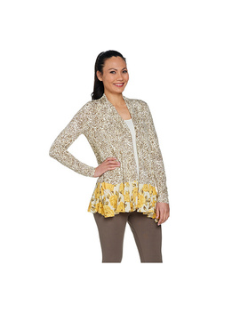 Logo By Lori Goldstein Mixed Print Cardigan With Pop Pockets by Qvc